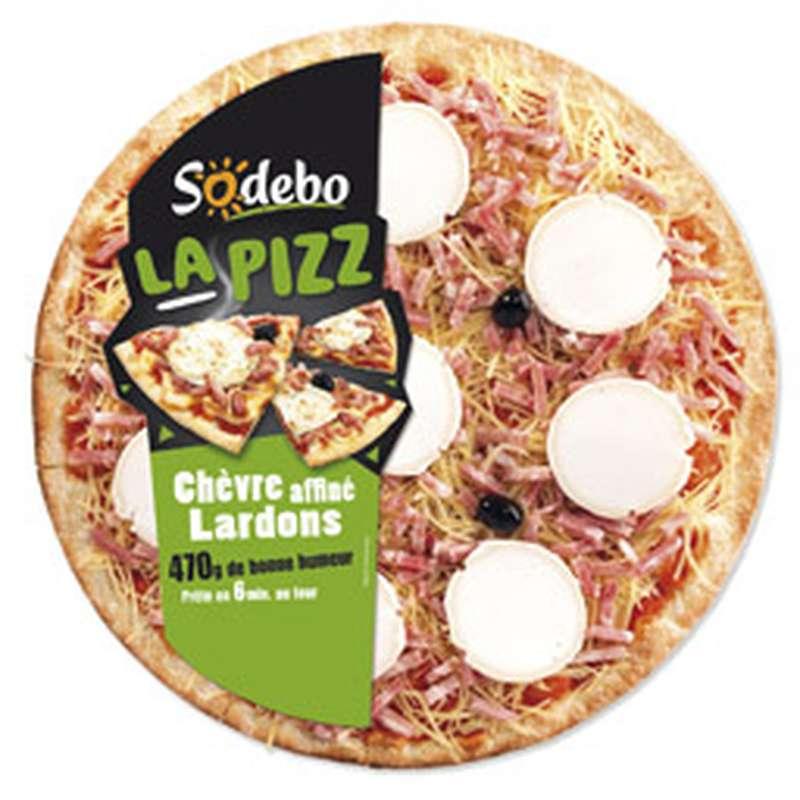 """Pizza """"La Pizz"""" chèvre affiné et lardons, Sodebo (470 g)"""