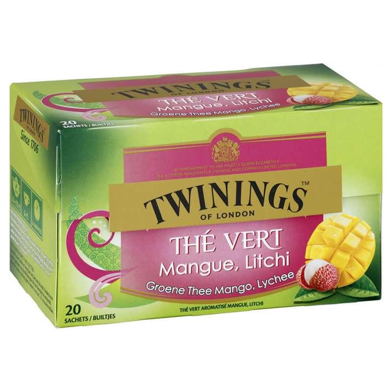 Thé vert mangue litchi, Twinings (x 20)