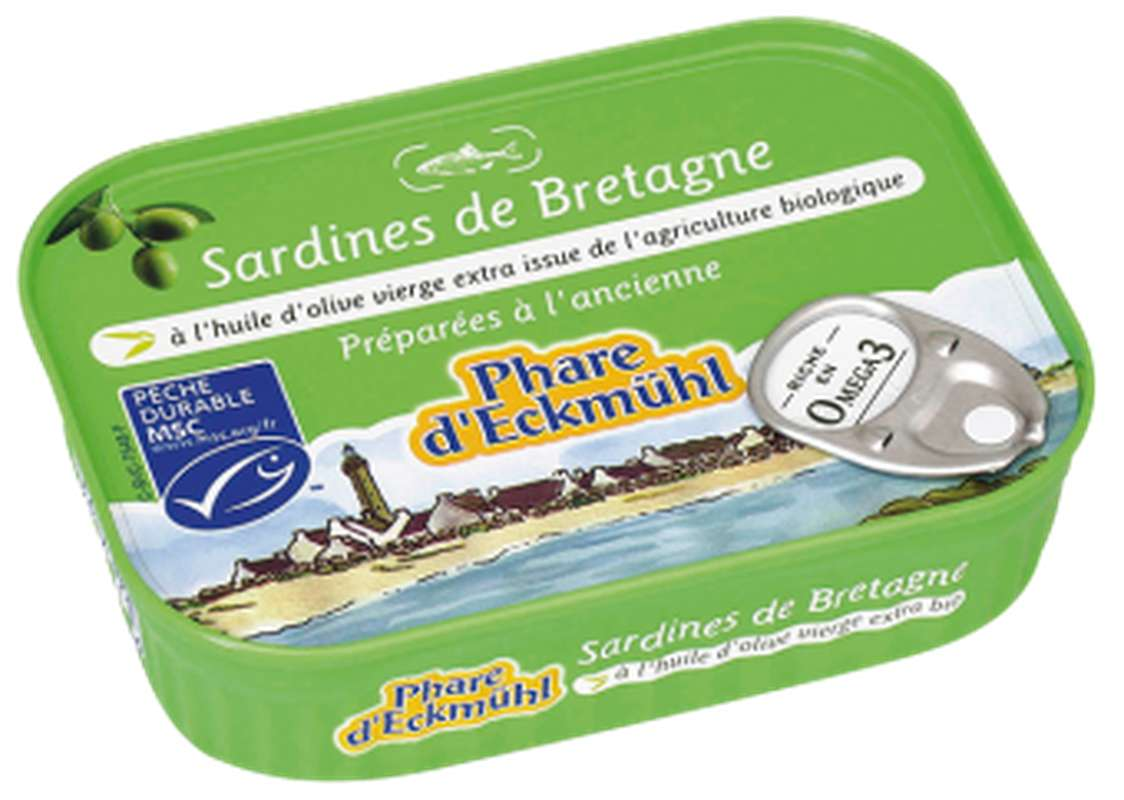 Sardines à l'huile d'olive vierge extra BIO, en boîte 1/5, Phare d'Eckmuhl (135 g)