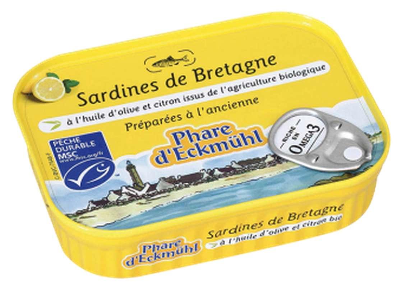 Sardines à l'huile d'olive et au citron BIO, en boîte 1/5, Phare d'Eckmuhl (135 g)