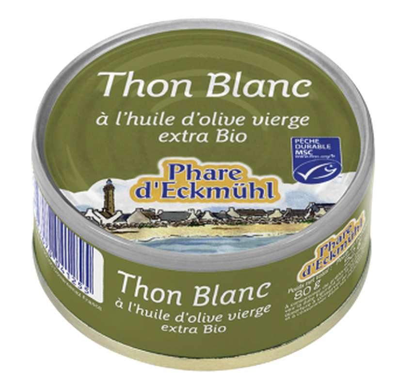 Thon blanc Germon à l'huile d'olive BIO, en boîte 1/10, Phare d'Eckmuhl (80 g)