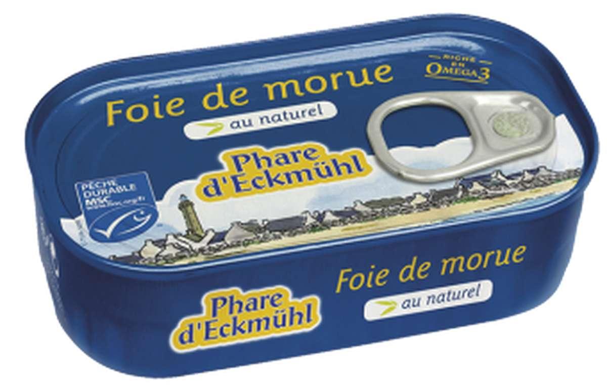 Foie de morue au naturel, en boîte 1/6, Phare d'Eckmuhl (121 g)
