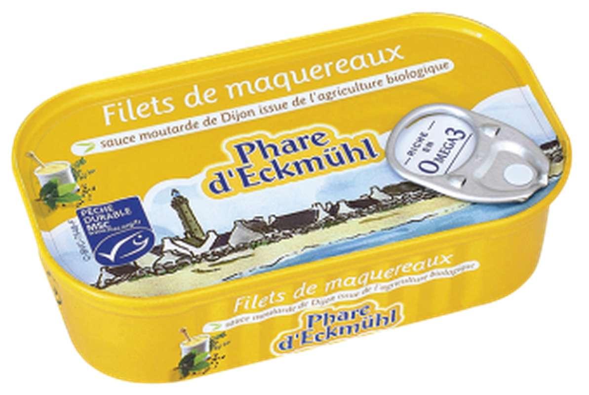 Filets de maquereaux à la moutarde BIO, en boîte 1/6, Phare d'Eckmuhl (113 g)