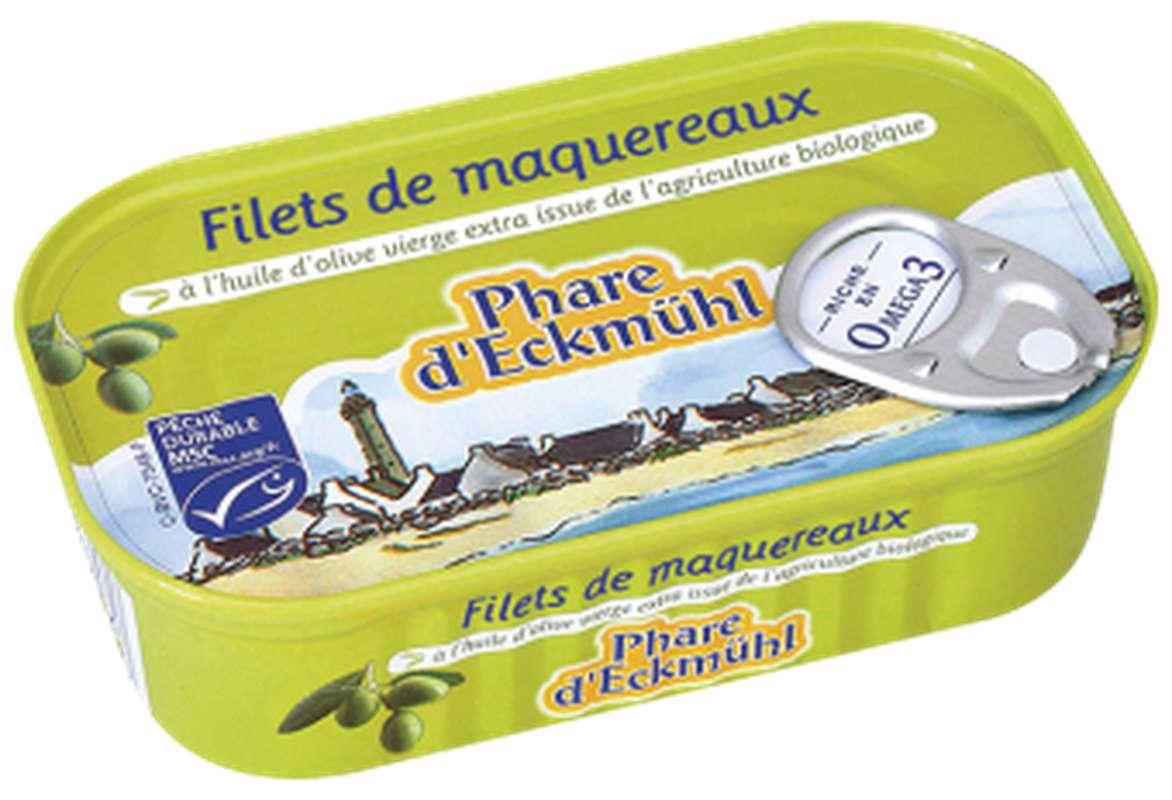 Filets de maquereaux à l'huile d'olive BIO, en boîte 1/6, Phare d'Eckmuhl (118 g)