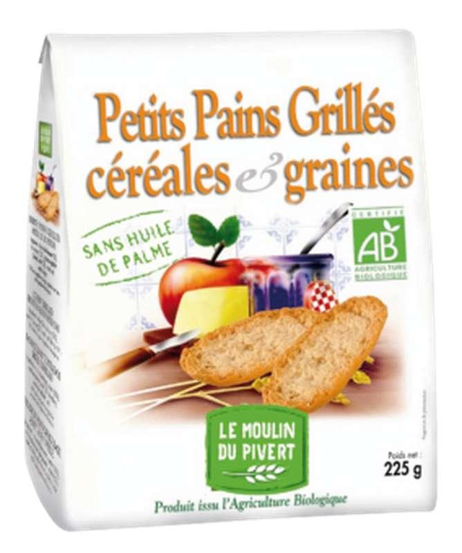 Petits pains grillés céréales et graines BIO, Le Moulin du Pivert (225 g)