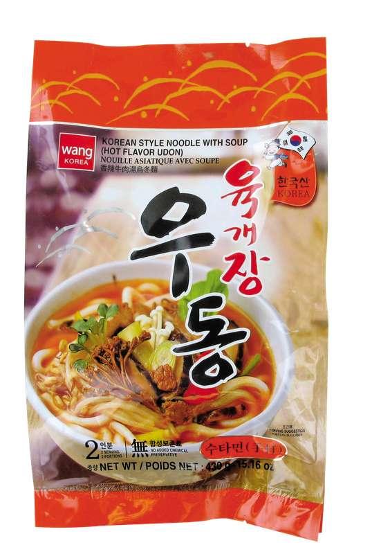 Udon saveur fruits de mer pimentés, Wang Korea (2 x 215 g)