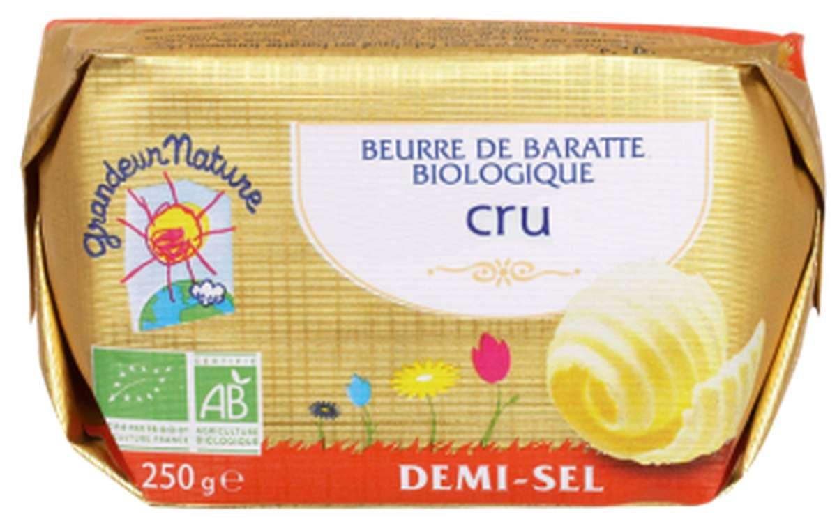 Beurre de baratte grand cru, 1/2 sel BIO, Grandeur Nature (250 g)