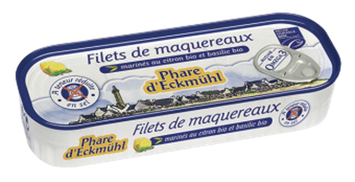 Filets de maquereaux MSC au citron et basilic BIO, à teneur réduite en sel, en boîte 1/5, Phare d'Eckmuhl (130 g)
