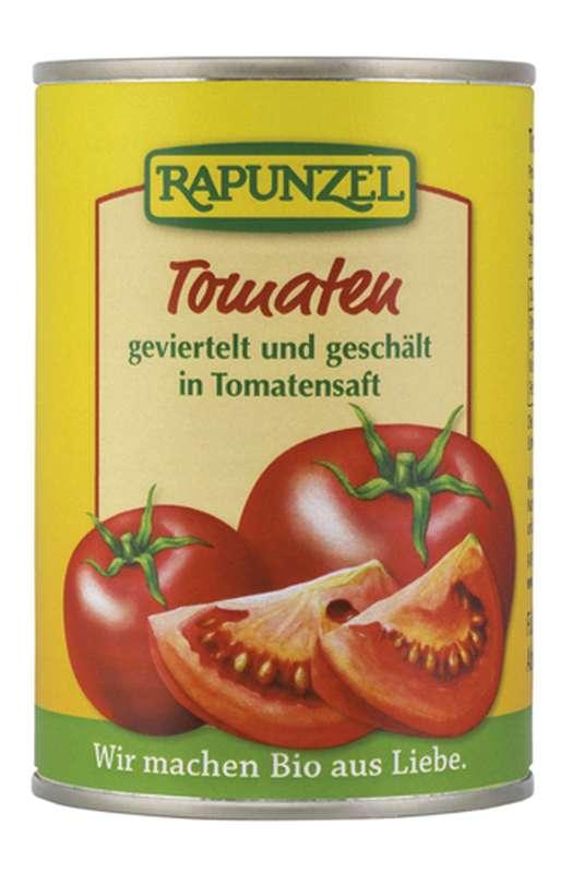 Tomates pelées en quartiers BIO, Rapunzel (400 g)