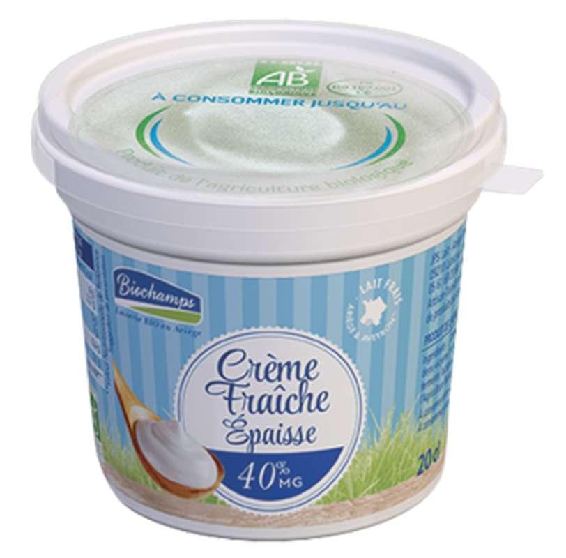 Crème fraîche de vache épaisse BIO 40% MG, Biochamps (200 g)