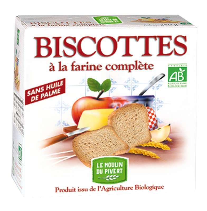 Biscottes à la farine complète BIO, Le Moulin du Pivert (270 g)