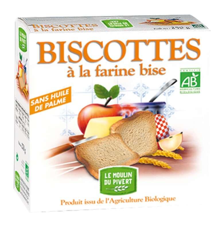 Biscottes à la farine bise BIO, Le Moulin du Pivert (270 g)