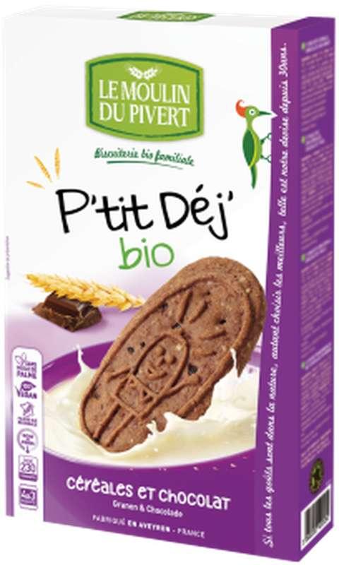 Biscuits P'tit Déj céréales et chocolat BIO, Le Moulin du Pivert (190 g)