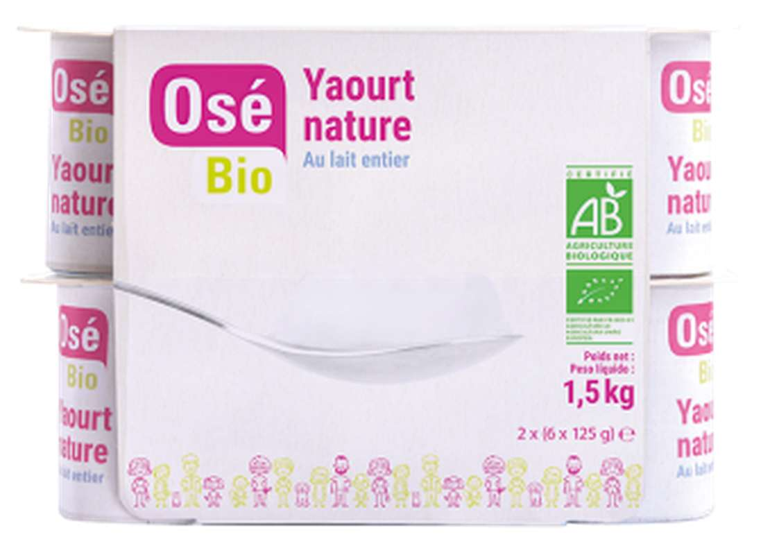 Yaourt nature au lait entier BIO, Osé Bio (12 x 125 g)