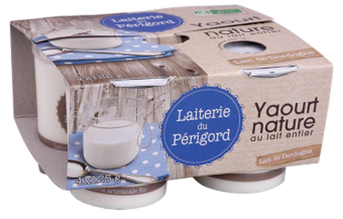 Yaourt au lait entier nature BIO, Laiterie du Périgord (x 4, 500 g)
