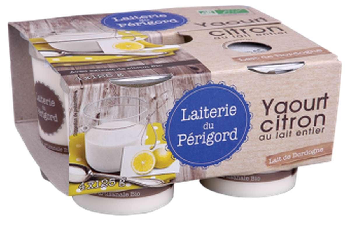 Yaourt au lait entier au citron BIO, Laiterie du Périgord (x 4, 500 g)