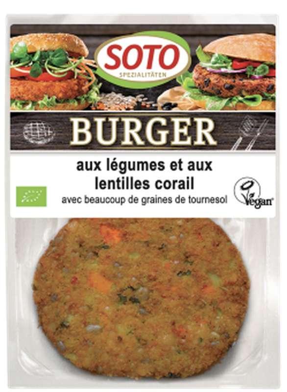 Burger aux légumes et aux lentilles corail BIO, Soto (x 2, 160 g)