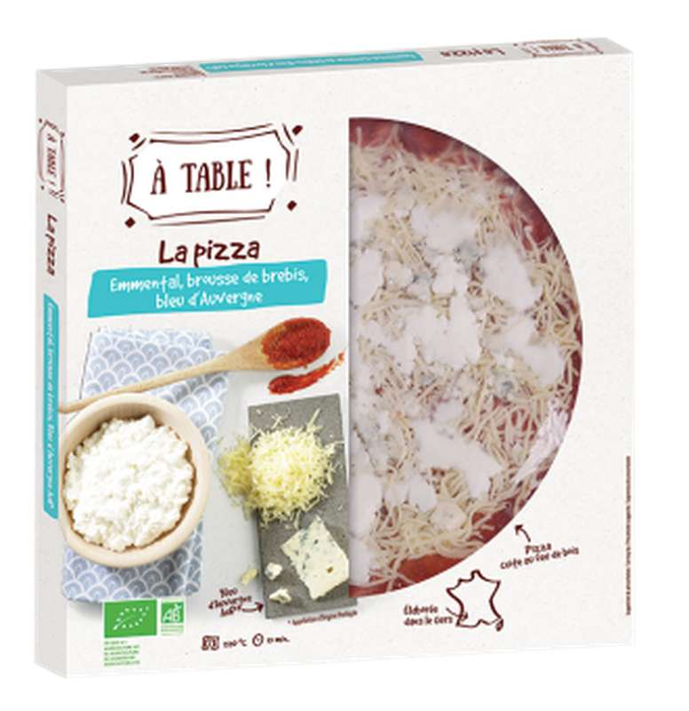 Pizza emmental, brousse de brebis, bleu d'Auvergne BIO, A Table ! (400 g)