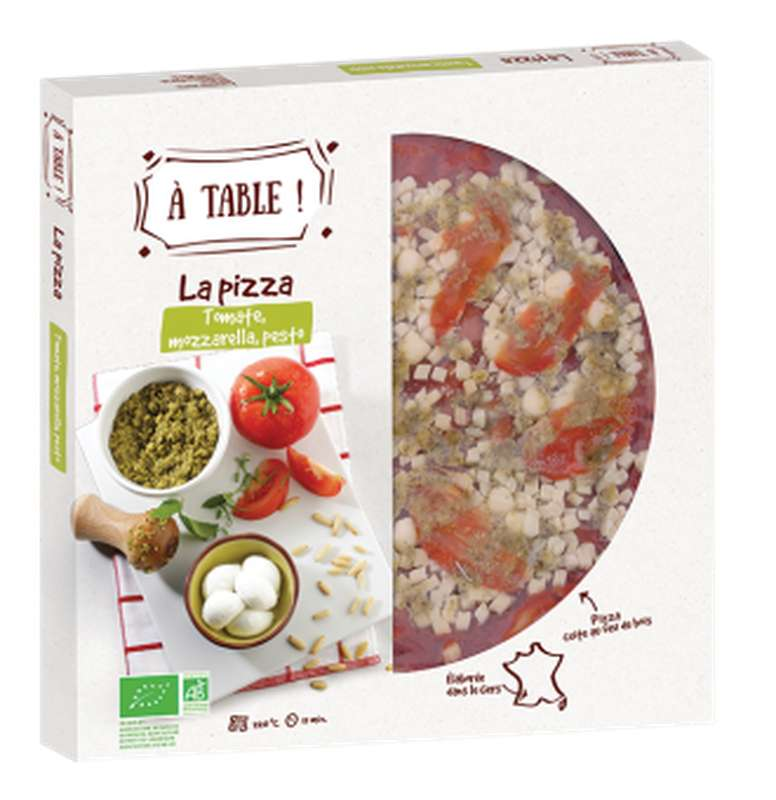 Pizza tomate mozzarella pesto BIO, A Table ! (400 g)