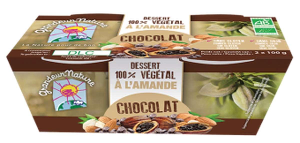 Dessert végétal amande chocolat BIO, Grandeur Nature (x 2, 200 g)