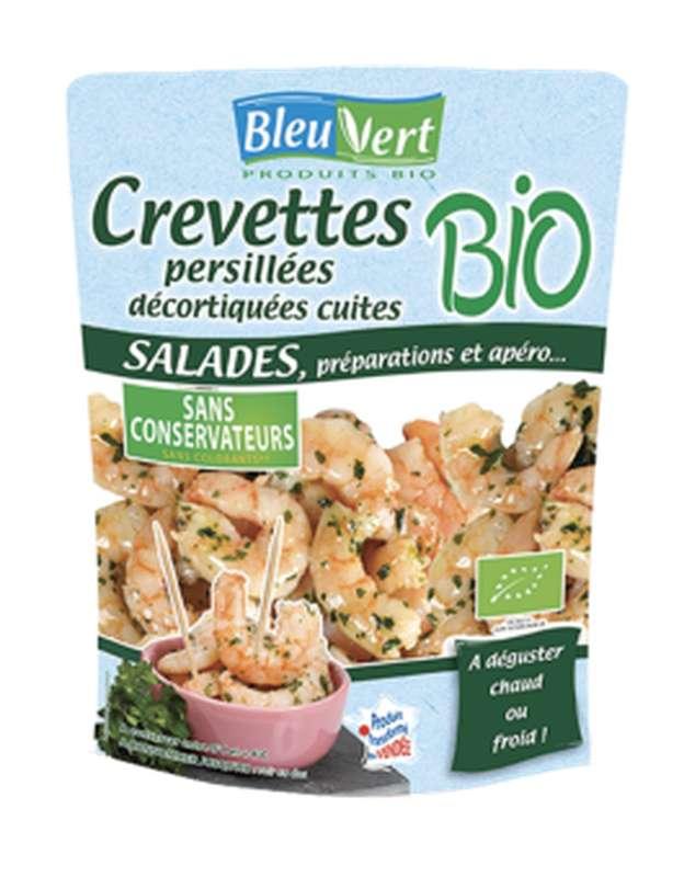 Crevettes persillées décortiquées cuites BIO, Bleu-Vert (100 g)