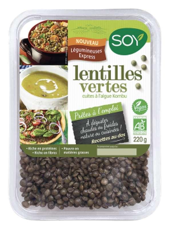 Lentilles vertes cuites à l'algue kombu BIO, Soy (220 g)