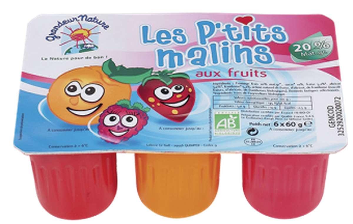 Les P'tits Malins BIO, fromage frais aux fruits, 3 % MG, Grandeur Nature (x 6, 360 g)