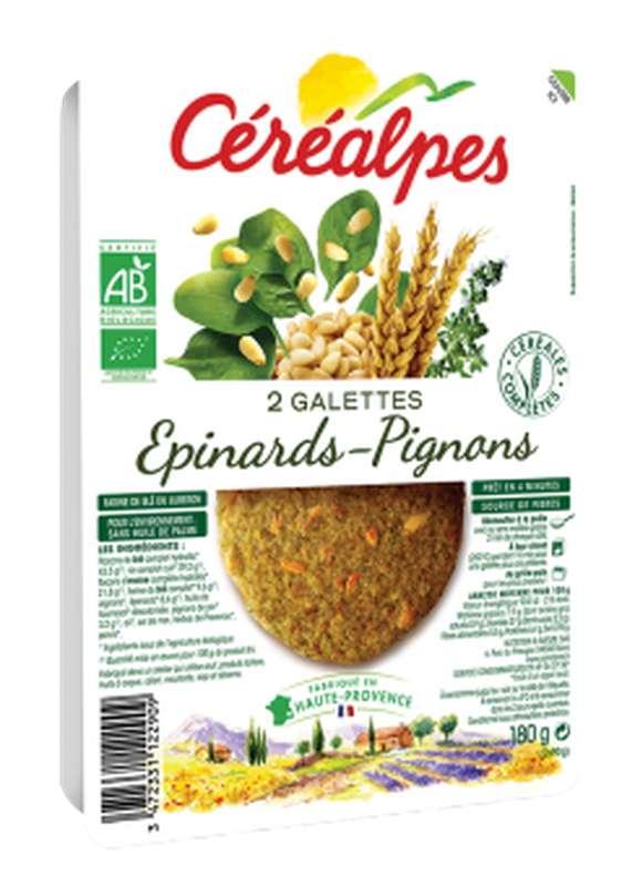 Galettes de céréales épinards et pignons BIO, Céréalpes (x 2, 180 g)