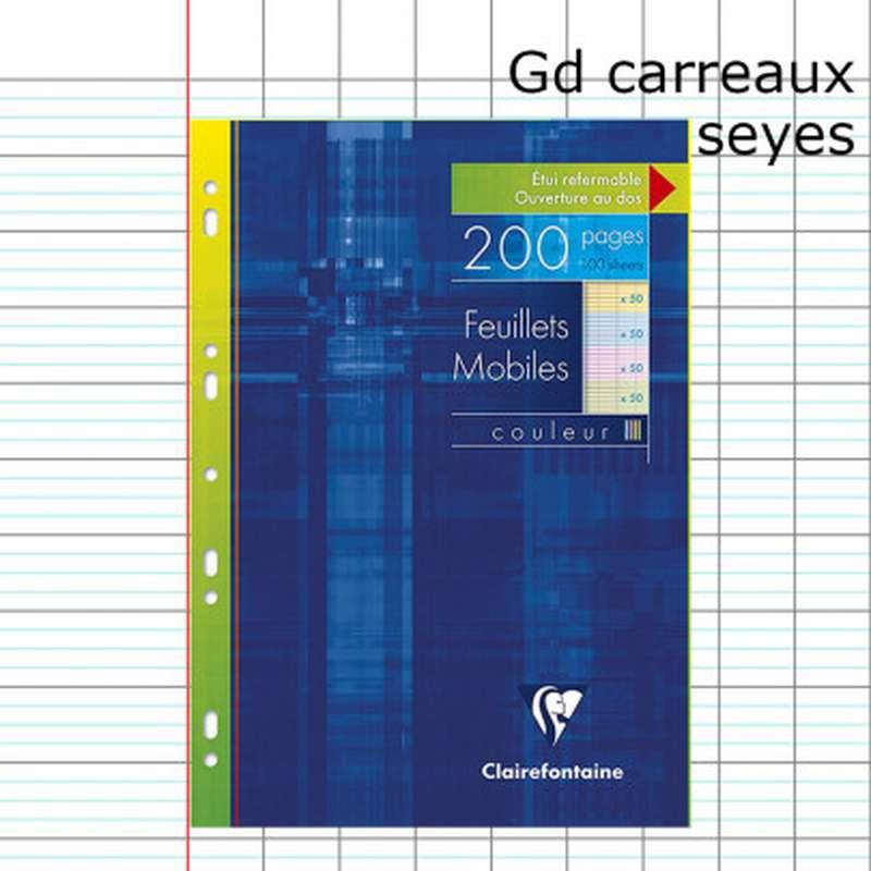 200 pages copies simples grands carreaux colorées A4 perforées, Clairefontaine