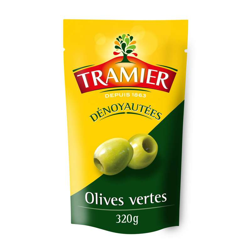 Olives vertes dénoyautées, Tramier (320 g)