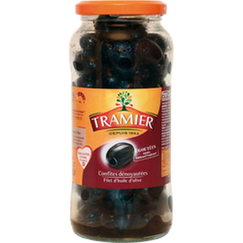 Olives noires confites sans saumure dénoyautées, Tramier (250 g)