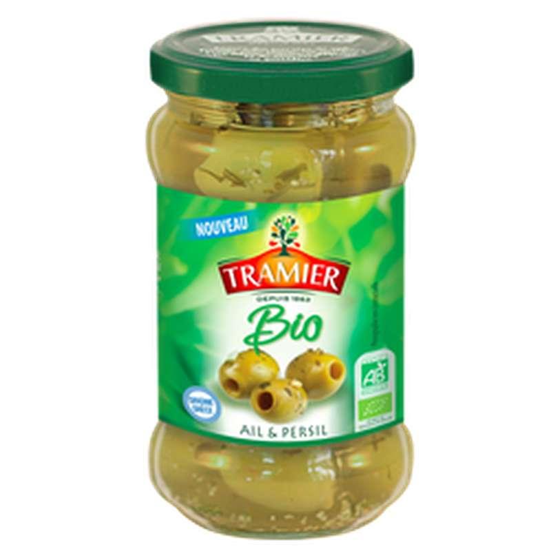 Olives vertes dénoyautées ail et persil BIO, Tramier (130 g)