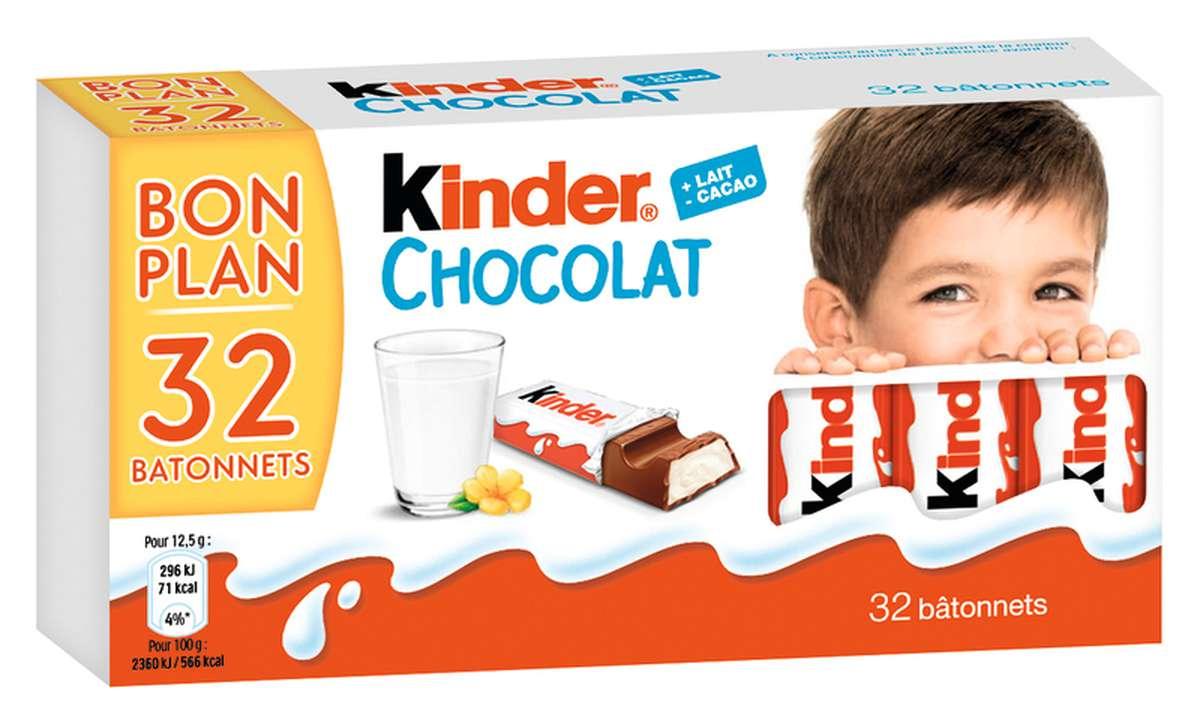 Bâtonnets chocolat Kinder (x 32, 400 g)