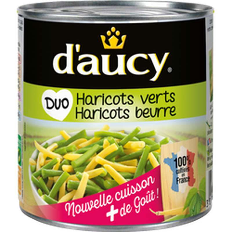 Duo haricots verts et haricots beurre, D'aucy (225 g)