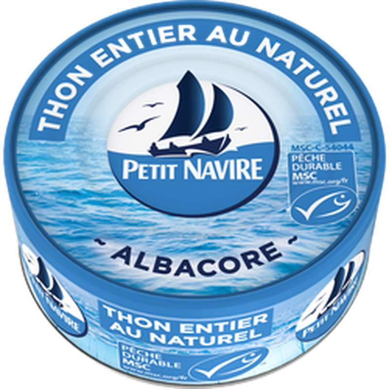 Thon Albacore entier MSC au naturel, Petit Navire (160 g)