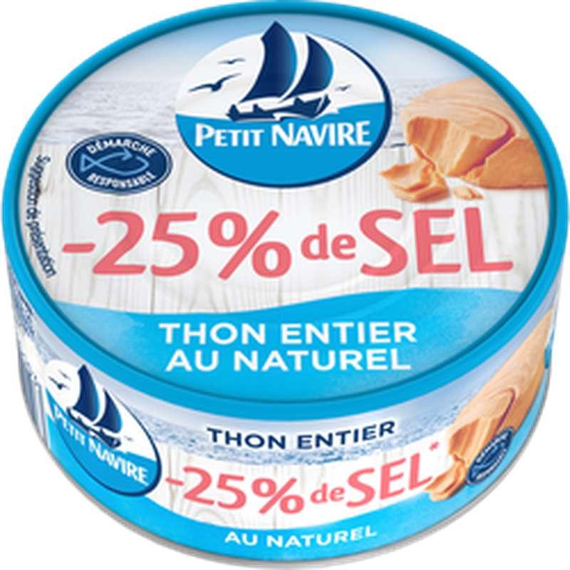 Thon entier au naturel -25% de sel, Petit Navire (112 g)