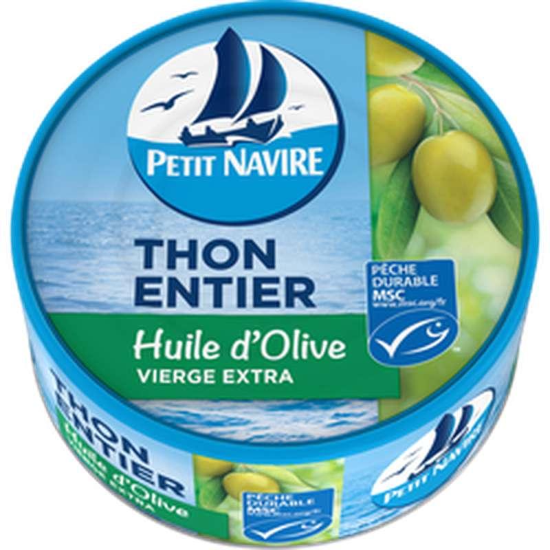 Thon entier MSC à l'huile d'olive, Petit Navire (160 g)