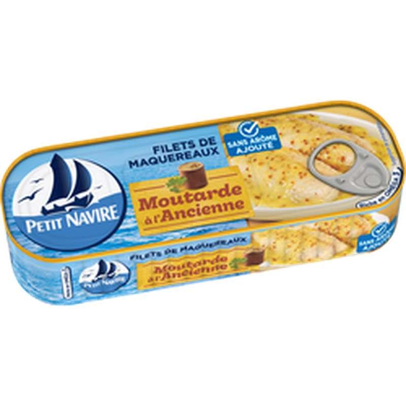Filets de maquereaux moutarde à l'ancienne sans arômes ajoutés, Petit Navire (175 g)