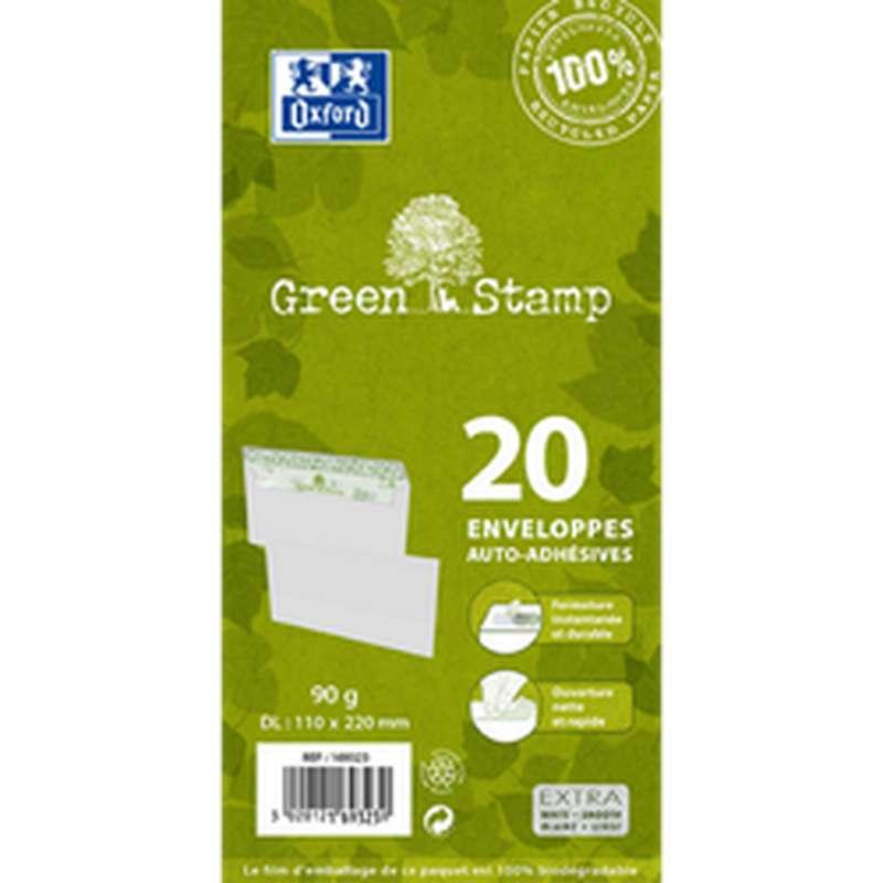 Enveloppes auto adhésives 110 x 220 mm en papier 100% recyclé, Oxford (x 20)