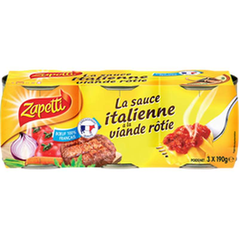 Sauce Italienne à la viande rôtie, Zapetti (3 x 190 g)