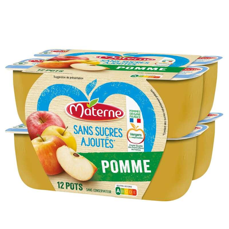 Compotes de pommes sans sucres ajoutés, Materne (12 x 100 g)