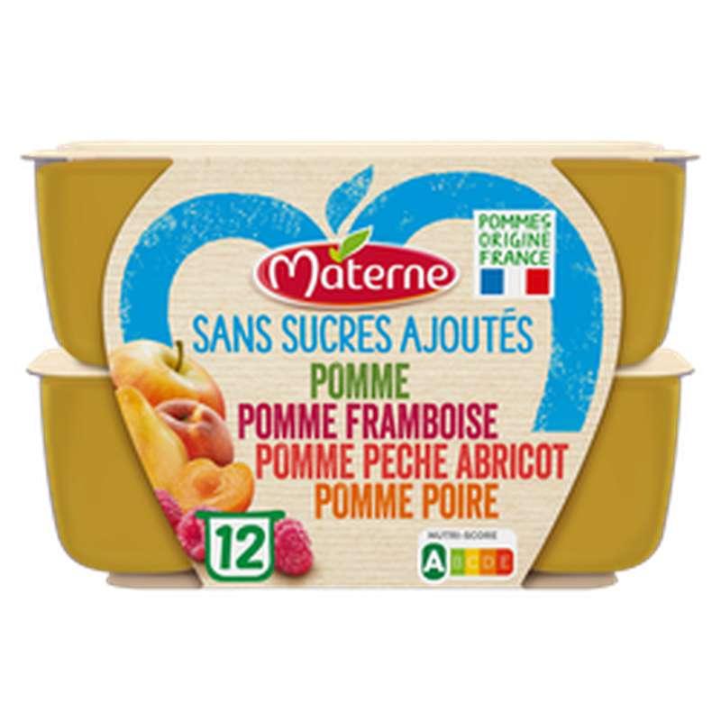 Compote sans sucre ajouté pomme poire framboise pêche et abricot, Materne (12 x 100 g)
