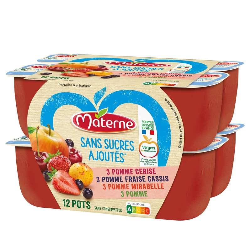 Compotes 4 parfum sans sucres ajoutés, Materne (12 x 100 g)