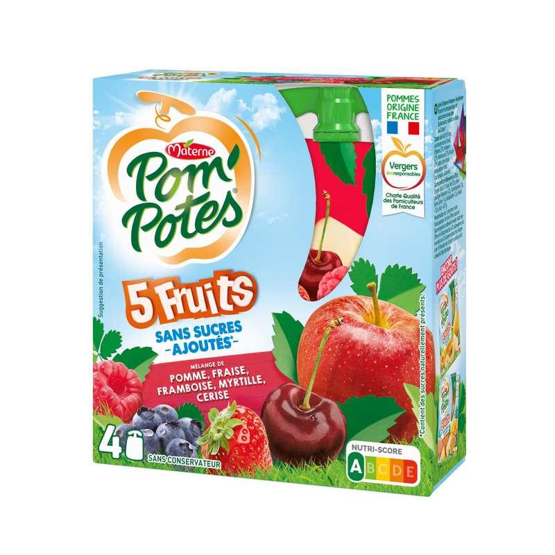Pom'Potes 5 fruits sans sucres ajoutés, Materne (4 x 90 g)