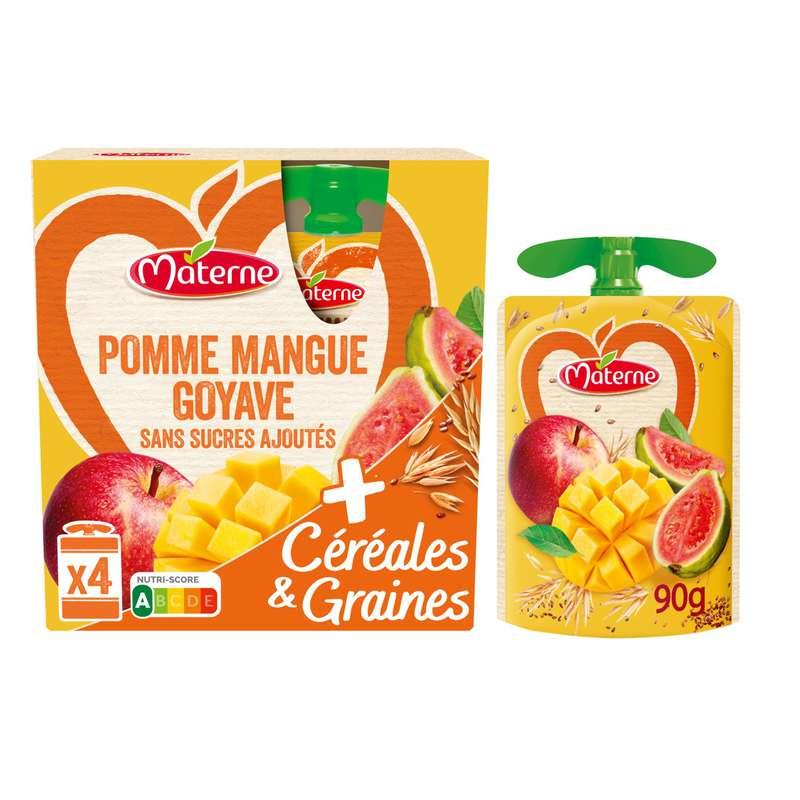 Compotes pomme mangue goyave céréales & graines, Materne (4 x 90 g)