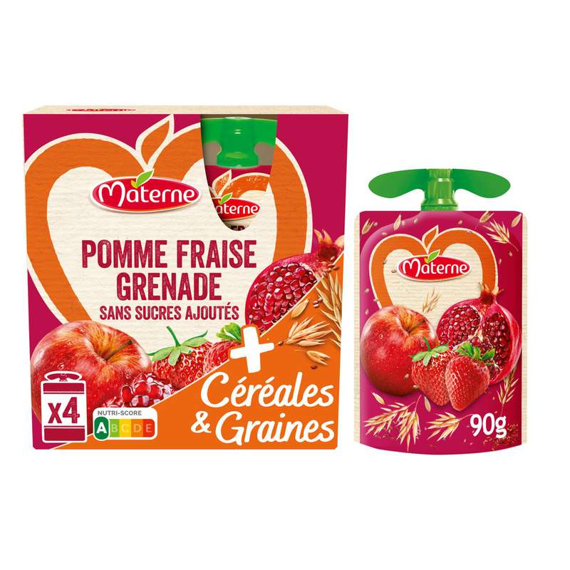 Compotes en gourde pomme fraise grenade céréales & graines, Materne (4 x 90 g)