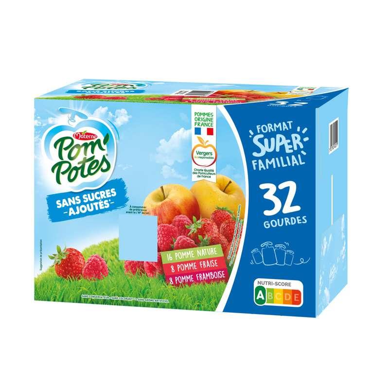 Pom'Potes pomme, pomme fraise & pomme framboise sans sucre ajouté, Materne (x 32)