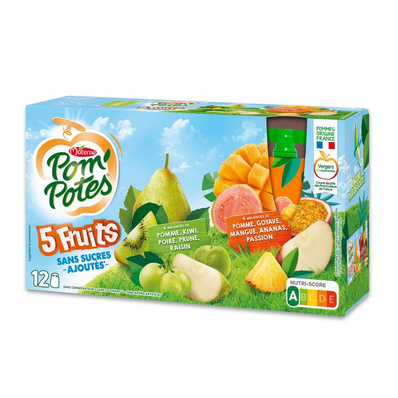 Pom'Potes fruits tropical & fruits verts, Materne (12 x 90 g)