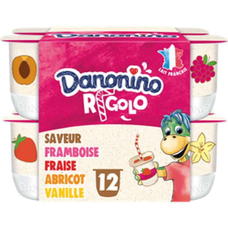 Yaourt Danonino Rigolo aromatisé aux fruits avec paille, Gervais (12 x 125 g)