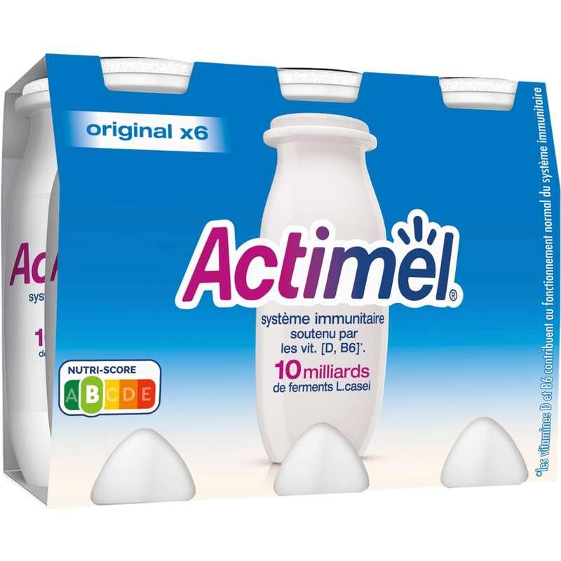 Actimel sucré et enrichi en vitamines B5, Danone (6 x 100 g)